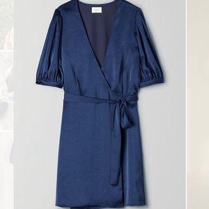 Aritzia Wilfred Blue Satin Lune Wrap Dress - S